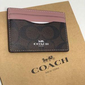 Coach signature PVC card case wallet brown /rose